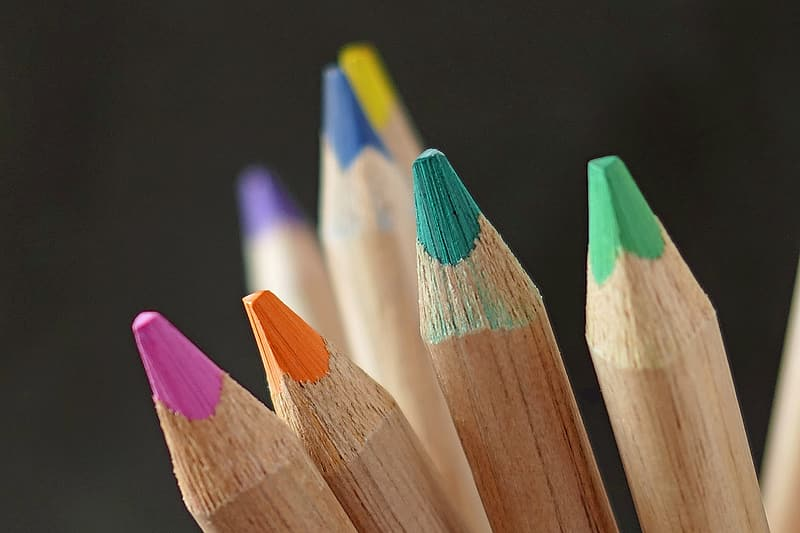 Close up photo of assorted-colored pencils