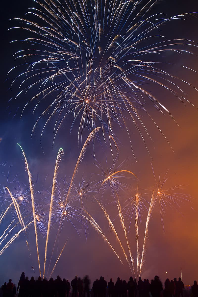 Long-exposure photography of fireworks at night