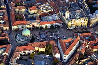 Aerial view photo of people near buildings