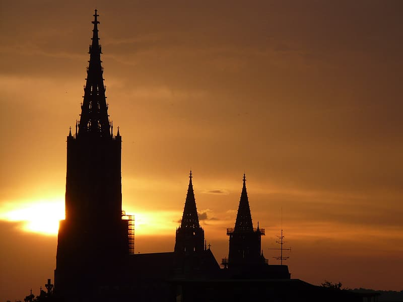 Silhouette of cathedral at sunset