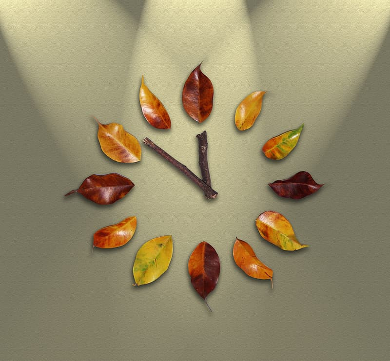 Brown and green leaf wall clock at 12:52