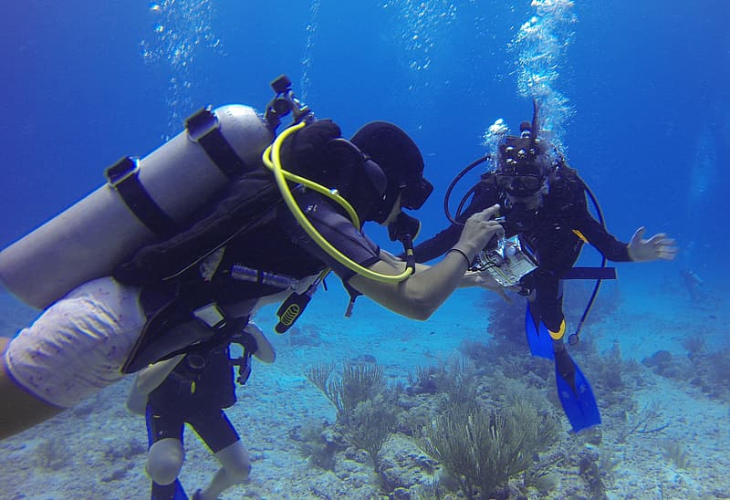 Two person scuba diving underwater