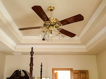 Brown 5-blade ceiling fan with light