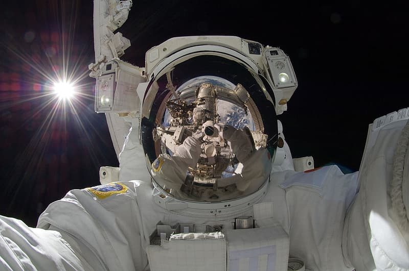 Untitled, astronaut, spacewalk, iss, tools, suit, pack, tether, floating, international space station