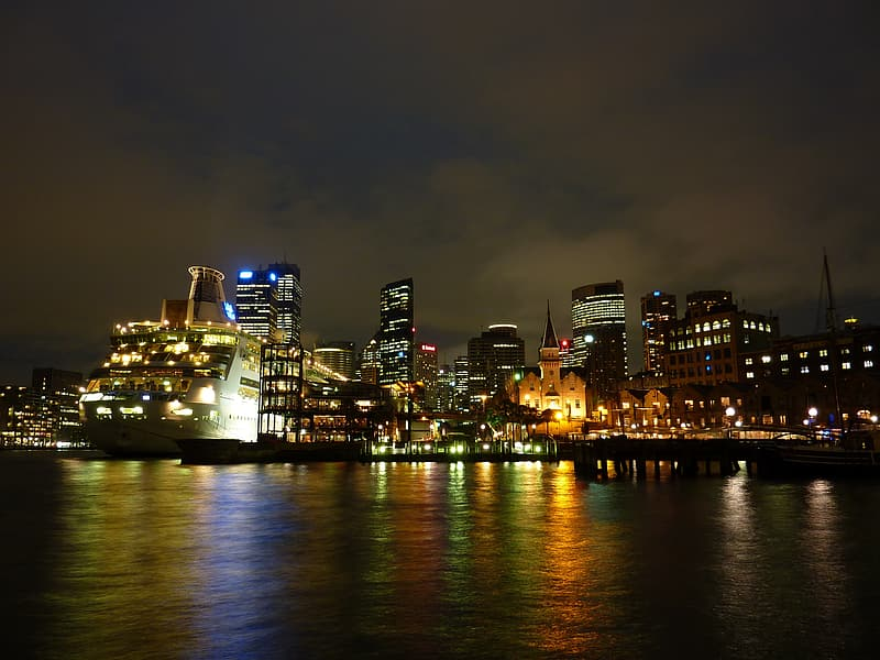 City buildings during night