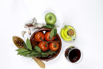 Fruits on brown clay pot