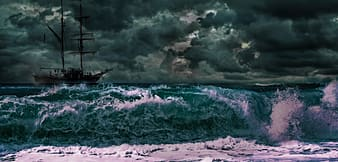 Brown ship sailing into stormy weather painting