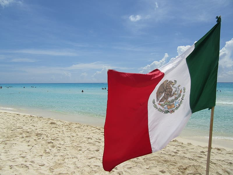 Flag of Mexico standing on seashore