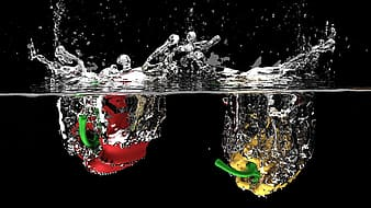 Illustration of fruits on water