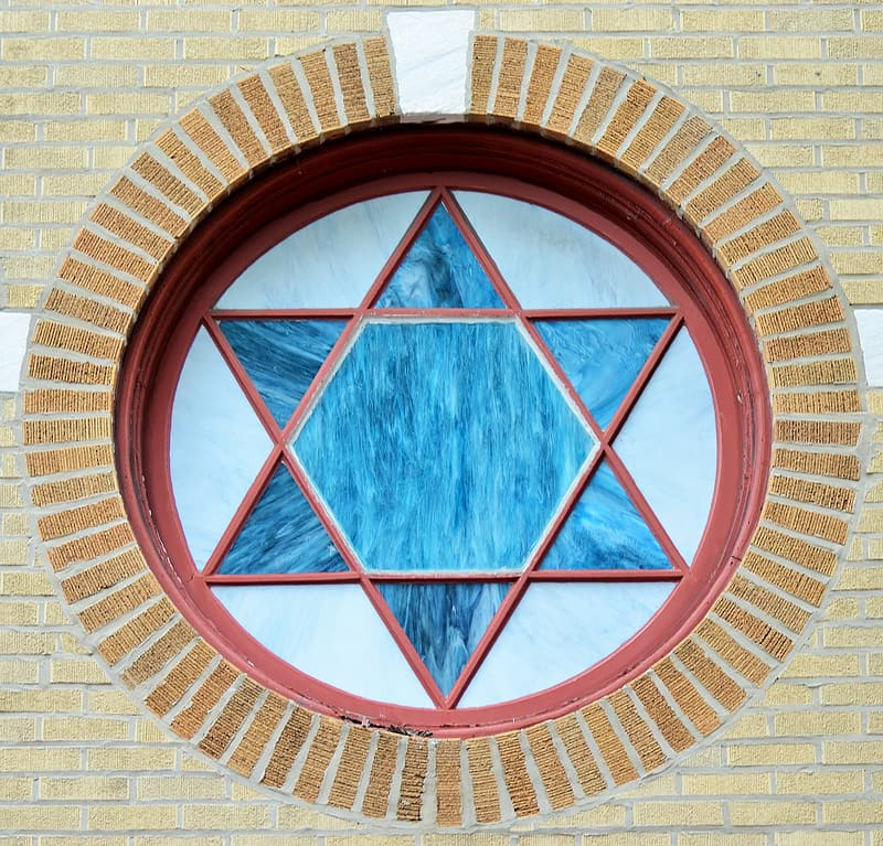 Close-up photography of Star of David-themed window