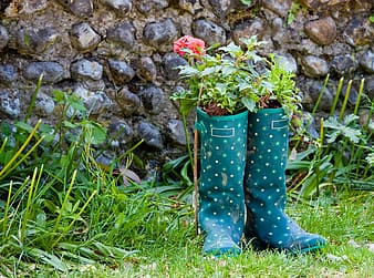 Teal and white boots plant pot