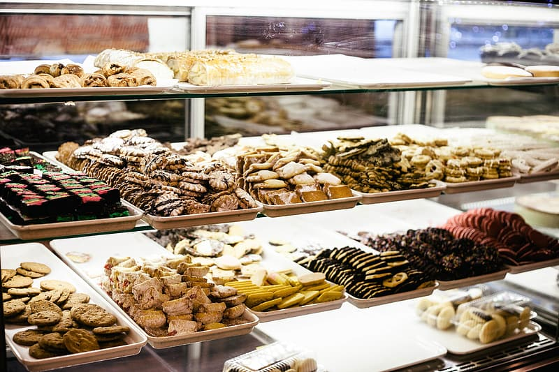 Assorted pastry in clear shelf