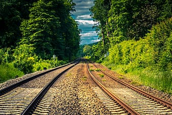 Brown train rail between green trees under white clouds and blue sky during daytime
