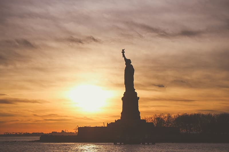 Statue of Liberty, New York during golden hour
