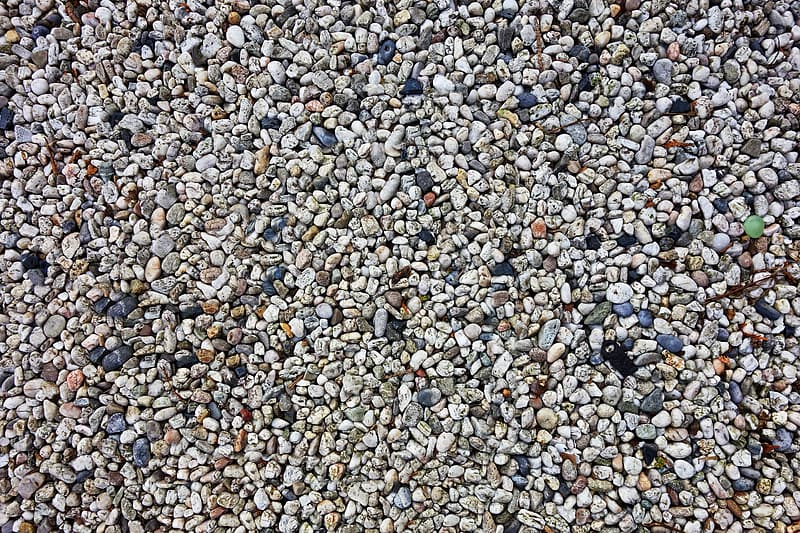 White gray and brown pebbles