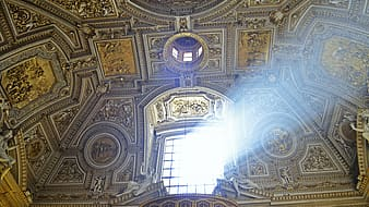 Multicolored painted dome building ceiling