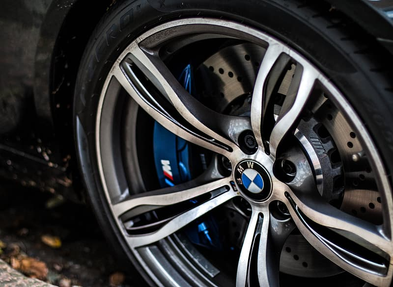 Gray BMW car wheel and tire