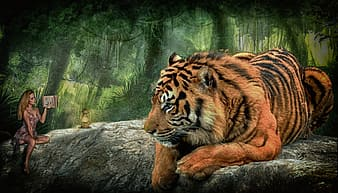 Woman sitting beside tiger painting