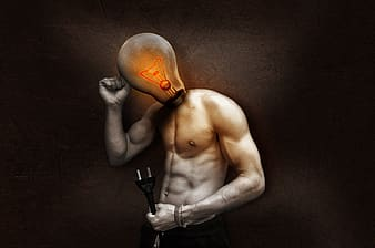 Man with bulb head holding 2-prong cable