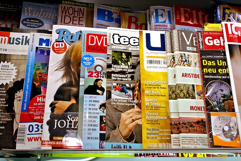 Closeup photo of assorted-title magazines