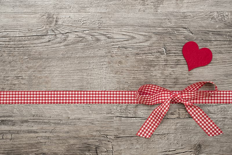 White and red checked pattern ribbon