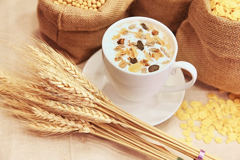 White ceramic mug with cereal near brown wheat and brown socks