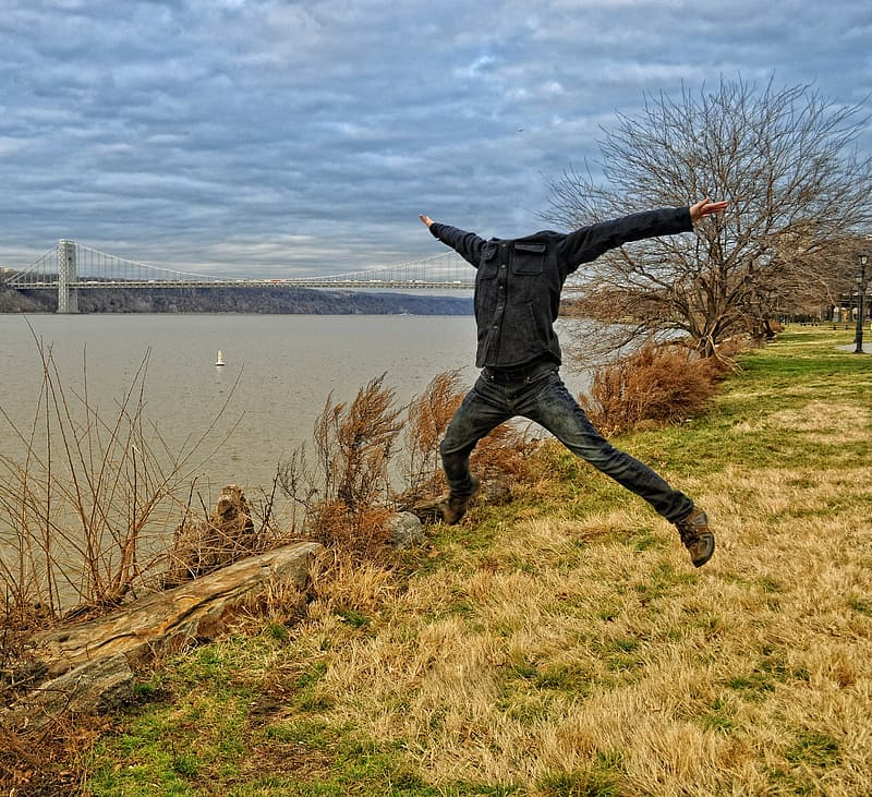 Man in jump shot position photography
