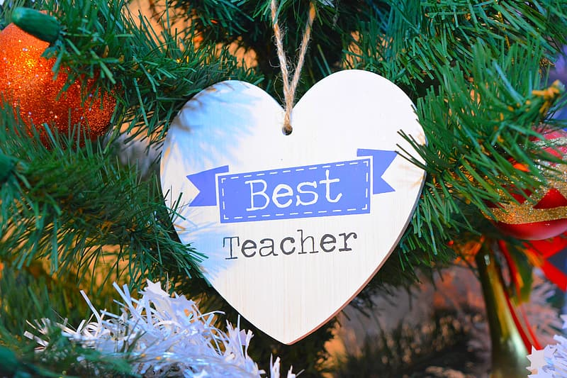 Gray Best Teacher heart hanging decor