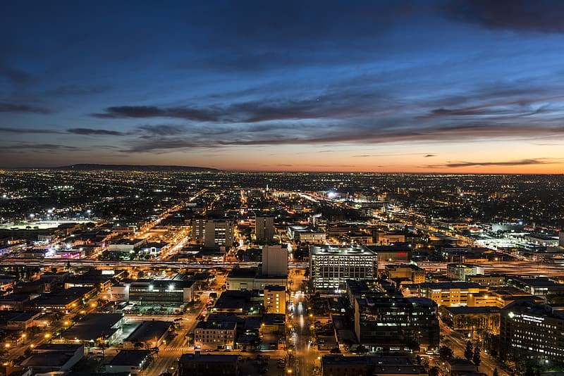 Aerial photography of buildings during night time
