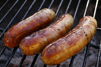 Three grilled sausages