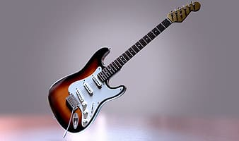 Photo of brown stratocaster-style electric guitar