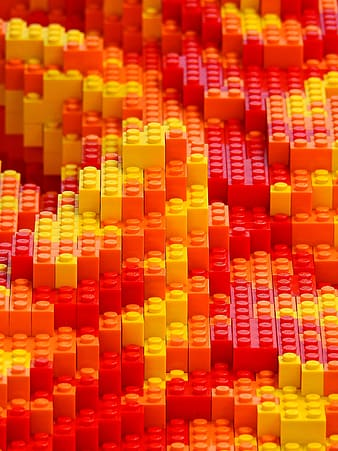 Red and yellow plastic building blocks