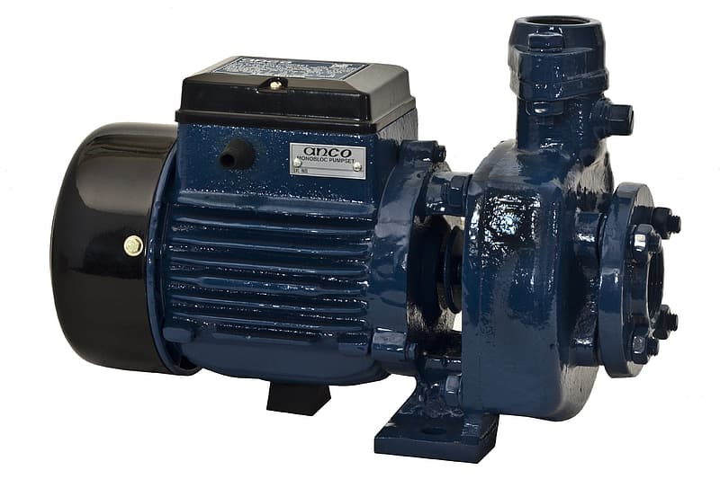 Close-up photo of blue and black water pump