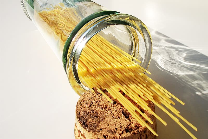 Pasta in clear glass container