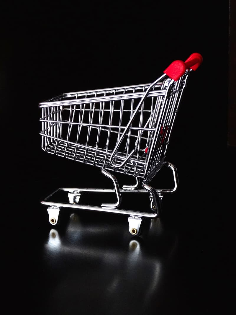 Gray and red shopping cart