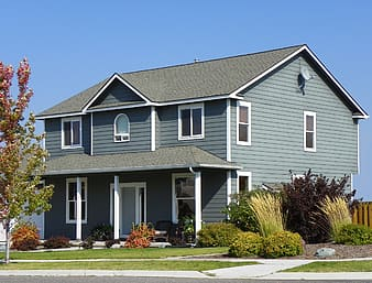 Gray and white wooden house