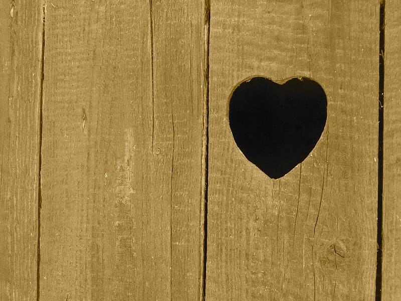 Wood plank with heart cutout