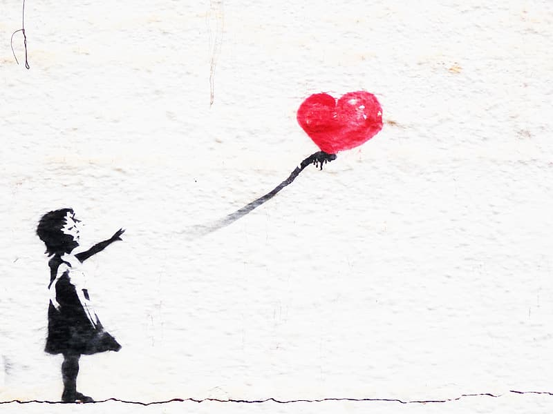 Holding holding heart-shaped red balloon painting