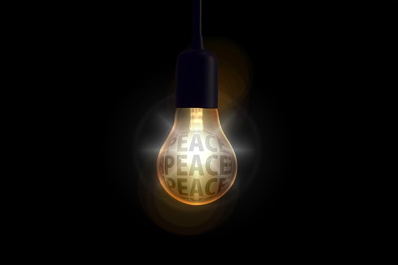 Ligted bulb with peace text