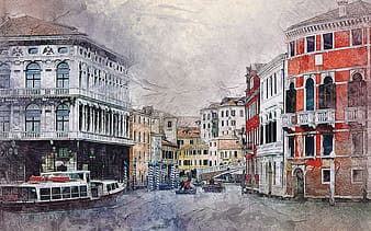 Red, white, and beige buildings painting