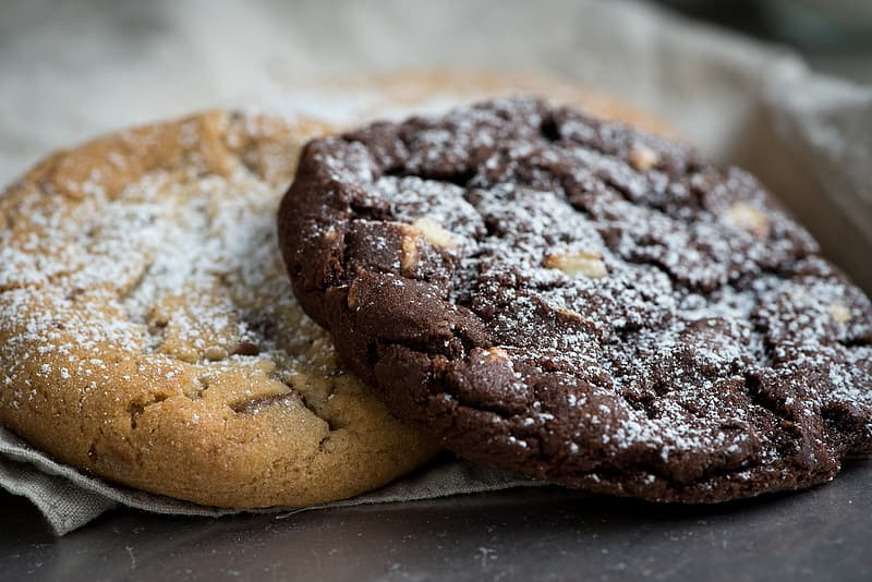 Baked cookies on gray surface