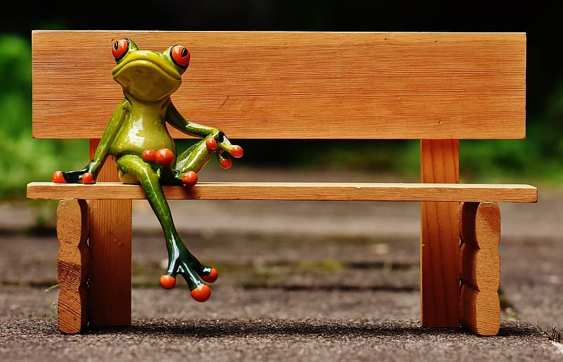 Green frog on brown wooden bench wallpaper