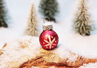 White and red christmas bauble place on wooden trunk