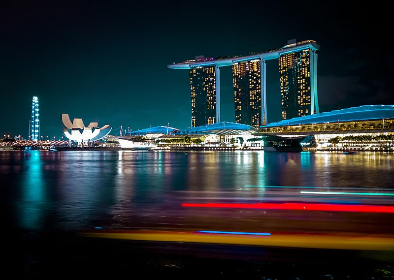 Time lapsed photo of Marina Sand Bay in Singapore