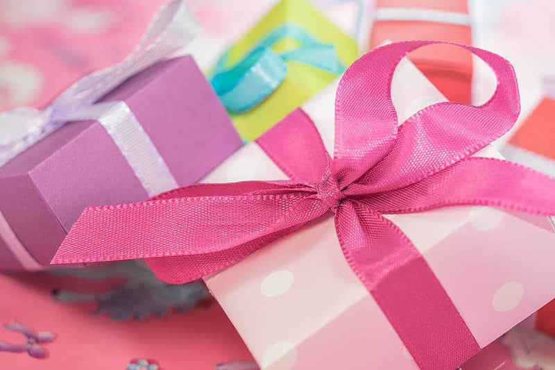 Pink and purple Christmas presents