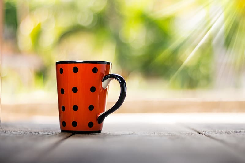 Red and white ceramic mug