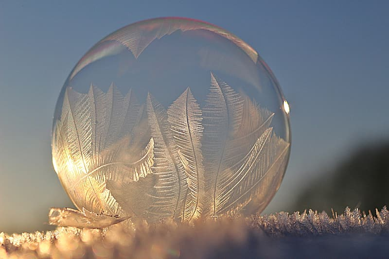 Clear glass ball on brown textile