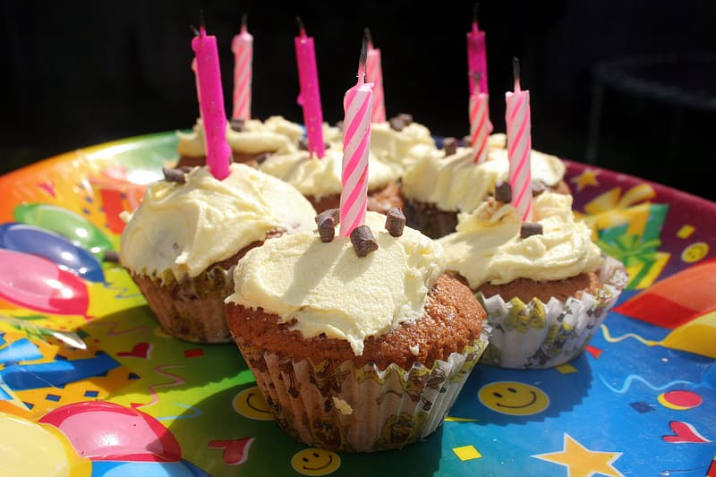 Chocolate cupcake with candles