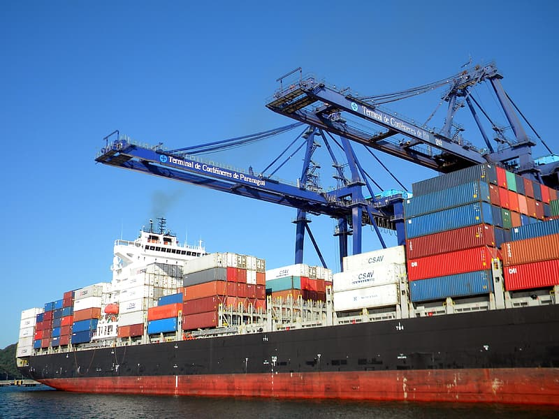 Intermodal containers on ship