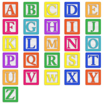 Multi colored English alphabets